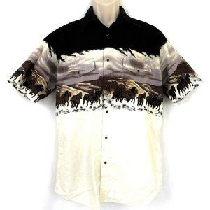 Vintage High Noon Western Pearl Snap Shirt L Horse